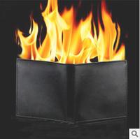 New 2015 magicas mentalism Fire Magic wallet fashion men slim short solid magic tricks carteira magica carteira masculina couro