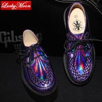 Four Seasons Men Womens Punk Gothic Rock Double Platform Creepers Shoes Lace UP Purple laser hologram Shoe have size 41 42 43