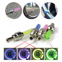 Fashion 4pcs 4 Color Bike Car Tire Tyre Wheel Valve Caps LED Flash Light Night Neon Lamp