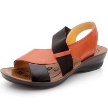 New 2014  women genuine leather shoes woman elegant design women sandal vintage wedge shoes women fashion sandalias femininas(China (Mainland))