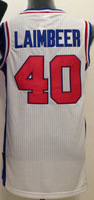 Free Shipping to all country!!#40 Bill Laimbeer retro throwback jersey ,Embroidered Logo(all name number stitched!!)