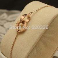 14k rose gold titanium steel double circle bracelets