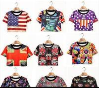 new 2014 casual HARAJUKU skull houndstooth print flag short design short-sleeve T-shirt female tops  cropped tops shirts top tee
