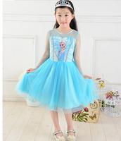 HOT NEW Frozen Dress Elsa Frozen children clothes dresses kids Girls Party Dress lace girl princess dress blue