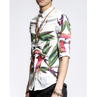 NEW FASHION MEN'S WHITE SHIRT FULL BIRD OF PARADISE PRINT HALS-SLEEVE SLIM SHIRT CATWALK FASHION SHOWING CASUAL MALE TOP M,L,XL