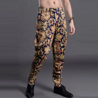 FREE SHIPPING FASHION 2014 FALL NEW MEN'S QUALITY HAREM PANTS ROYAL BAROQUE TAPER BIG FLORAL PRINT LONG TROUSERS 28,29,31,33 HOT