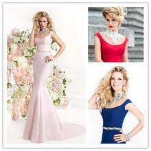 New Arrival High Neck Beading Evening Dress Sleeveless Long Length Sweep Train Formal Prom Dress 2014
