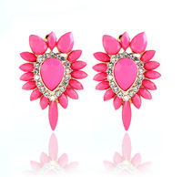 2014 New Brincos Fashion Designer Crystal Acrylic Earring 18K Gold Pink Luxury Brand Earing Bijoux Big Stud Earrings For Women