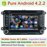 For Volkswagen VW Golf 5 V MK5 Passat b6 b7 polo Pure Android 4.2.2 Car DVD Capacitive Dual Core 1.6GHz A9 3G WIFI Radio GPS