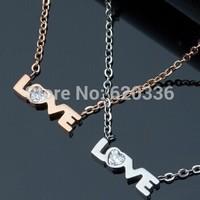 rose/silver titanium steel love necklaces