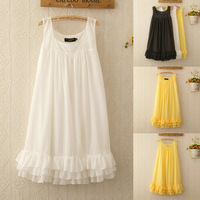 1148 2014 new high quality Summer women Korean ladies round neck sleeveless vest bottoming Slim Solid Color Ruffle dress