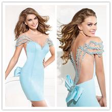 2014 New Arrival High Neck Evening Dress Beading Short Mini Sleeveless Party Homecoming Dress