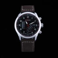 Fashion Men Quartz Military Army Watch Man Genuine Leather Strap Sport Watch Clock Male Water Resistant Brown Band Reloj relogio