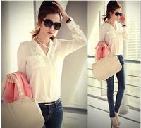 CHEAPEST!!! 2014 Chiffon Women Blouse White Fashion OL Shirts Long Sleeve Spring Pocket Women Work Wear Blouses Free shipping