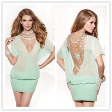 Newest 2014 Sexy V-neck Cocktail Dress Heavy Beading Mini Short Sleeve Club Prom Party Dress