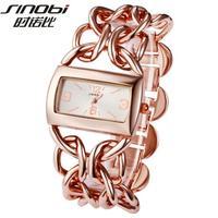New Arrival Original SINOBI 3 Colors High Quality Shinning Chain Steel Women Ladies Wrist Watch Dress Watch
