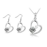 2014 Hot Sale Cubic Zirconia Jewelry Sets Heart-shaped Crystal Earrings Zircon Necklace&Pendants ML-706