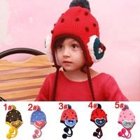 2013 new painted figure Ah -Tutuya brand velvet bonnet strawberry baby knitted hat child care