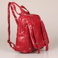 Wine Red Vintage School Bag Preppy Style Backpack PU Leather Women Fashion Backpack Double Shoulder Bag#HC062