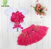 In Stock Top selling! 2014 NEW Girls clothing sets Lovely Big flower T-shirt + tutu skirt Baby girl clothing set