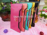 Women wallet Golden Bow knot Long PU Leather Card Holders Clips Flower Hasp Buckle Open Wallets Clutch Long Purse free shipping