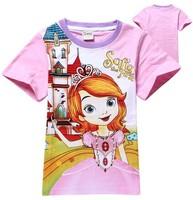2014 New girls cartoon sofia t-shirt kids short sleeve summer cotton tees tops baby cute t shirts wholesale 6pcs/lot in stock