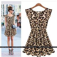 new 2014 women summer vintage casual maxi sexy leopard dress Sleeveless bandage knee-length