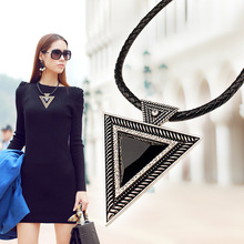 Summer 2014  Vintage Jewelry Triangle Statement Necklace Rhinestone necklaces & pendants leather chain Dress Costume Item N14