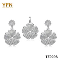 TZ0098 Genuine 925 Sterling Silver Set New S925 Jewelry Fashion Flower Pendant & Drop Earrings Bridal Jewelry Set Gift For Women