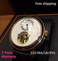 Free shipping Self-wind Tourbillon watch 5357BA/1B/9V6 5357BA/12/9V6 wristwatches back transparent relogio masculino