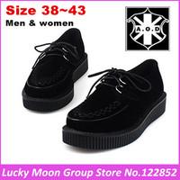 New Men Women Black Flock Creepers Low Platform Ladies Lace Up Creeper Goth Punk Shoes HARAJUKU Studded Shoe Man Woman