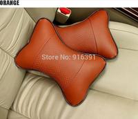 2 pcs Car neck pillow leather headrest Auto Seat cover Head Neck Rest Cushion Headrest Pillow Free shipping