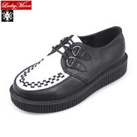 Men Women CREEPERS black/white Goth punk flat low platform creepers shoes HARAJUKU rock street stud shoes Big size