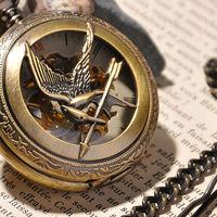 2014 New Design Men's Skeleton Pocket Watch Luxury Mechanical Hand Wind Pocket Watch Brand Fashion Watches