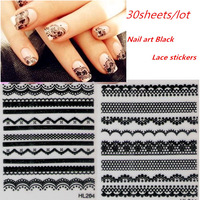 30sheets Mixed NEW 3D French Black Lace Flower Nail Art Sticker Decal Nail Stickers Nail Art Decoration for Gel Nails