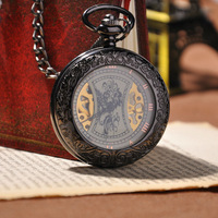 Skeleton Watches 2014 New Hotsale Men Fashion Watch With Chain Steampunk Mechanical Hand Wind Pocket Watch
