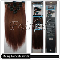 New Fashion 20''(50CM) 2 Bundles 250g Thick Virgin Clip IN REMY Human Hair Extensions Straight Clip On#33 Medium Auburn 2set/lot