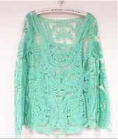 New 2014 Fashion Retiform Vintage Women Girl's Shirt Ventilate Women Clothing Solid Female Blouse Mint Green Tops For Women