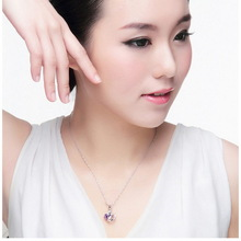 Real 925 Sterling Silver With 18K Gold Plated AAA Austrian Crystal Purple Heart Necklaces Pendants Fashion