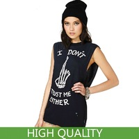 Plus Size XXL New 2014 Fashion Women Clothing Crop Top Letter Punk Skull Finger Print T-Shirts Cotton Casual T Shirts in Stock