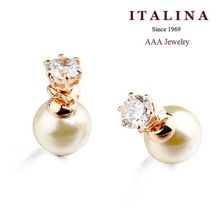 9$ Free Shipping! 871240 AAA Double Sides Zircon and Pearl Stud Earrings for Girls Gold Plated ITALINA Beads Jewelry
