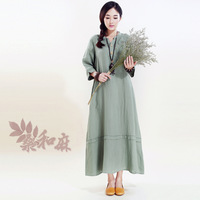 [ LYNETTE'S CHINOISERIE - Sang ] 2014 women's chinese style linen brief 7 length sleeve one-piece dress