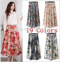 24 Colors 2014 New Women's National Wind Bohemian Floral Printed Skirt Pocket Cotton Beach Long Skirt C-BT4048