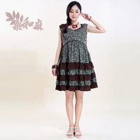 [ LYNETTE'S CHINOISERIE - Sang ] 2014 Summer New Women National Trend Cute Patchwork 100% Cotton Sleeveless Doll Princess Dress