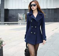 Woolen outerwear overcoat female 2014 spring women's winter long slim cotton lapel overcoat thick warm coats Red / Blue 8170