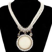 Women Rhinestone Embroider Pendant Nylon Rope Imitation Gemstone Necklace (white) 62652
