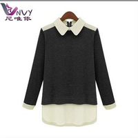 New 2014 women t-shirt crop tops for women fashion cotton blend patchwork long sleeve turndown vintage sale shirts t womens W056