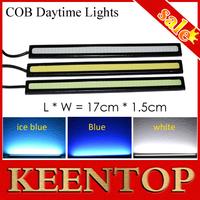 17CM DC12V Daytime Running Light 20W COB Car LED External Light DRL Waterproof Bumper Decorative Sticker LED Daylight Black 2Pcs