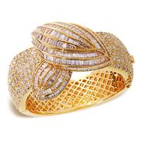 Latest Luxury Design Punk Women Bangle Top Grade Cubic Zirconia Setting Lead Free Brass Bracelet 18K Gold Plating Bridal Wedding