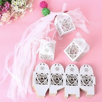 New 50PCS Love Heart Laser Cut Candy Gift Boxes With Ribbon Wedding Party Favor Creative Favor Bags Free Shipping